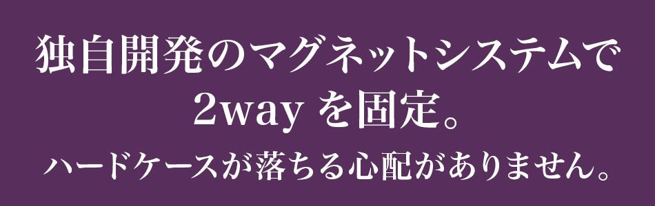 2wayの固定には独自開発のマグネットシステムを採用。